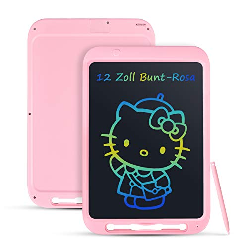 Funkprofi Bunte 12 Zoll LCD Writing Tablet mit Anti-Clearance Funktion und Dicke Linien, LCD Schreibtafel, Grafiktabletts Schreibplatte Papierlos für Schreiben Malen Notizen als Geschenk (Rosa)