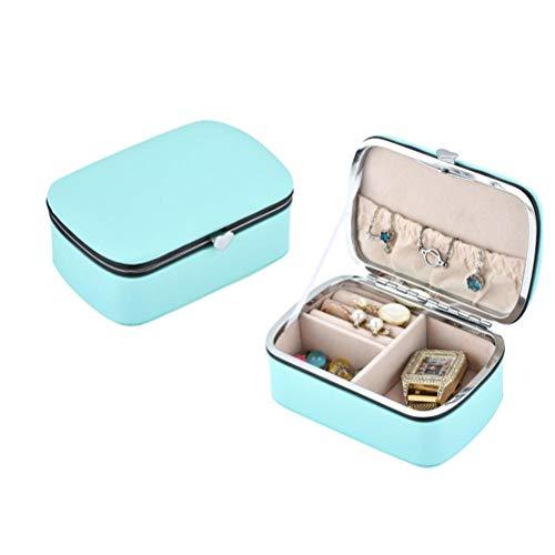 AIJIANG Caja de almacenamiento de pendientes, organizador de pulseras, estuche de almacenamiento de collares, cajas de almacenamiento de relojes, joyero portátil de viaje pequeño para niñas y mujeres