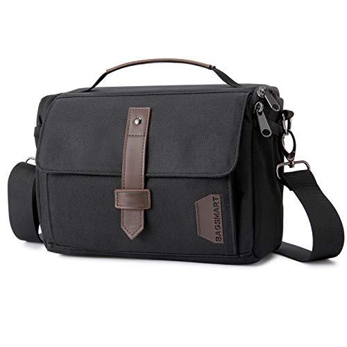 Camera Bag, BAGSMART DSLR Camera Case Water Resistant Camera Gadget Shoulder Bag for Men and Women, Black