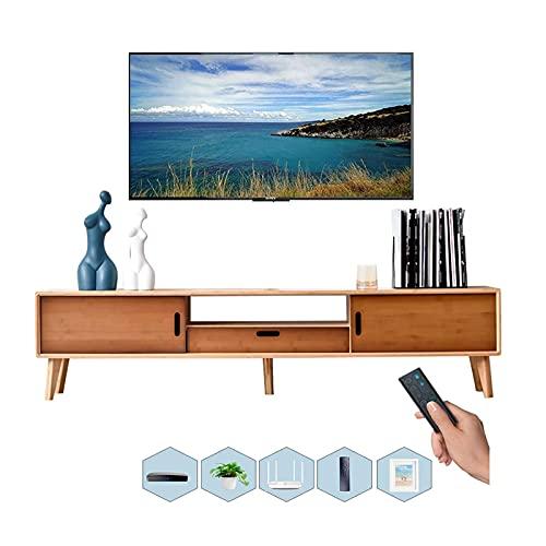 Cabinet TV, Tv Lowboard, Scaffali galleggianti, Cabinetto TV, Console multimediali da 51,1   62,9 pollici, Scaffali TV-Top Box, Bamboo naturale realizzato in bambù naturale senza peculiare odore.