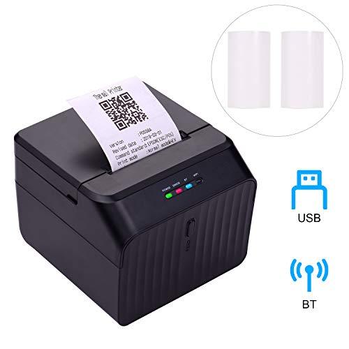 Aibecy58mm Thermodrucker Bondrucker Etikettendrucker Belegdrucker Barcodedrucker USB-Verbindung mit 2 Rollen Papier im Inneren Unterstützung ESC/POS-Befehl Kompatibel mit Windows Android IOS