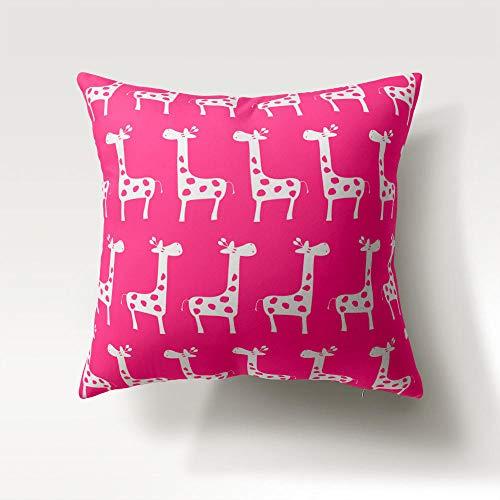 Federe per Cuscino Rosa 50 X 50 CM Cuscini Divano Fodera per Cuscino Giraffa Animale con Cerniera Invisibile, per Divano Casa Soggiorno Camera da Letto Decorazione per Interni