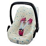 ByBoom® - Funda de verano/funda hecha de 100% algodón orgánico, funda universal para portabebés (Moisés), asiento de coche, por ejemplo, Maxi-Cosi, Color:Natural - Estrellas Aqua
