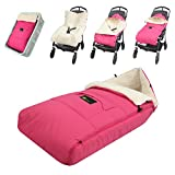 ZIIIW Baby Stroller Sleeping Bag Universal Bunting Bag Moistureproof Warm Footmuff Anti-Slip Baby Swaddle Wrap for 6-36M (Rosa)