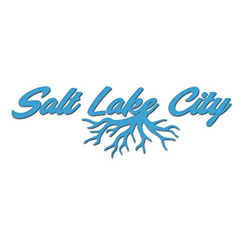 Milk Mug Designs Salt Lake City Utah Roots Hometown City 6 inch Ice Blue Vinyl Decal -  SaltLakeCityUtah-6inIceblue