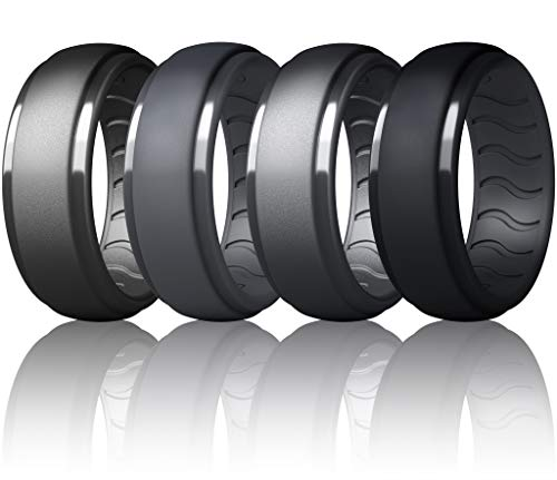 Dookeh Breathable Mens Silicone Wedding Rings, Rubber Ring Bands For...