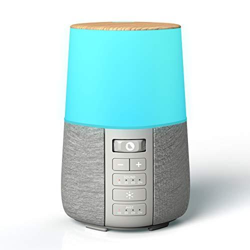 Diffuseur Huiles Essentielles avec Bruit Blanc, 6 Couleurs Lumières LED, Diffuseur de Parfum Electrique pour Aromathérapie, Parfum Maison
