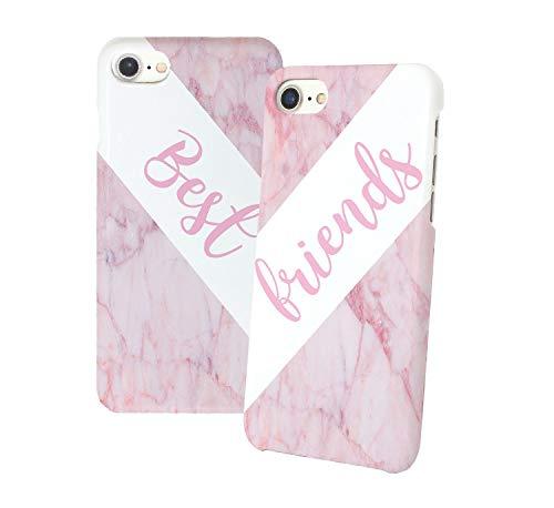 Best Friends Pink Marble Iphone Relazione Amicizia Accoppiamento Custodia Protettiva In Plastica Rigida Phone Case PerIil Migliore Amico iPhone 6, 6s, 7, 7 Plus, 6 Plus, 8, X Case