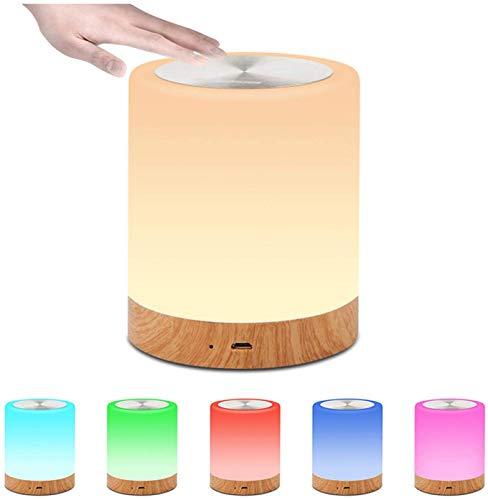 HAITOY Lámpara Táctil, Luz de Humor LED con Lampara de Mesa Circular Regulable en 5 Colores RGB para Dormitorio Mejor Regalo para Hombres, Mujeres, Adolescentes, Niños