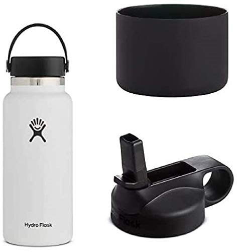 Hydro Flask Trinkflasche, Edelstahl und vakuumisoliert, große Öffnung mit auslaufsicherer Flex Cap, White, 946ml + Silikon-Flex Boot, schwarz, Mittel+ Trinkhalmdeckel mit großer Öffnung, schwarz