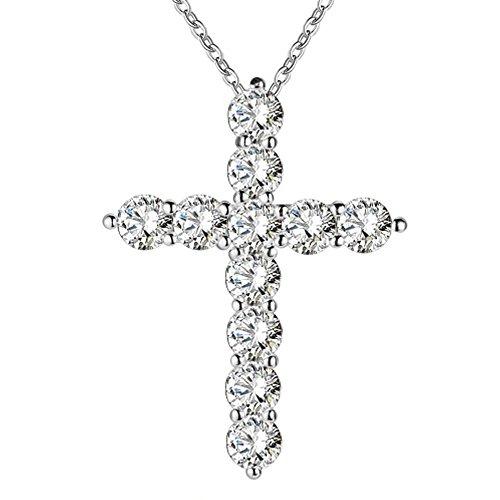 IzuBizu London Elegante Diamant-Halskette, weiße Kristalle, Kreuz-Anhänger, 925Sterlingsilber–Geschenkbox