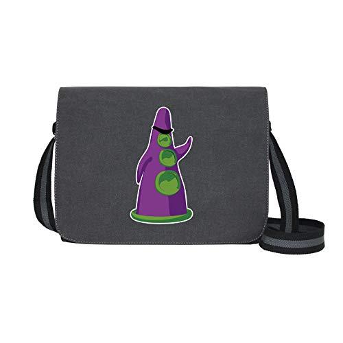 Purpur Tentakel - Umhängetasche Messenger Bag für Geeks und Nerds mit 5 Fächern - 15.6 Zoll, Schwarz Anthrazit