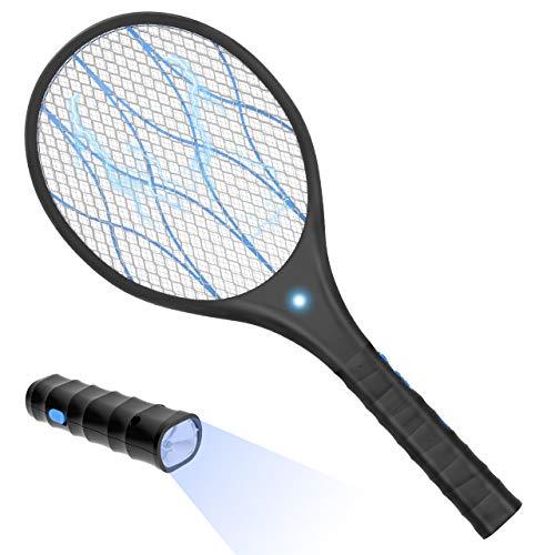 Bearbro Raqueta Mata-Mosquitos,Swatter Matamoscas Electrico Raqueta USB Recargable,Electric Mosquito Killer Iluminación LED para deshacerse de trampas de Mariposas, Moscas y Otros Insectos voladores