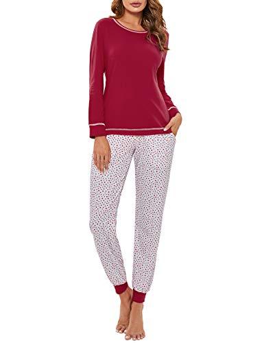 Hawiton Pijamas Mujer Invierno Manga Larga Conjunto de Pijama para Mujer Algodón Pantalones Largo Ropa de Casa 2 Piezas, Rojo, S