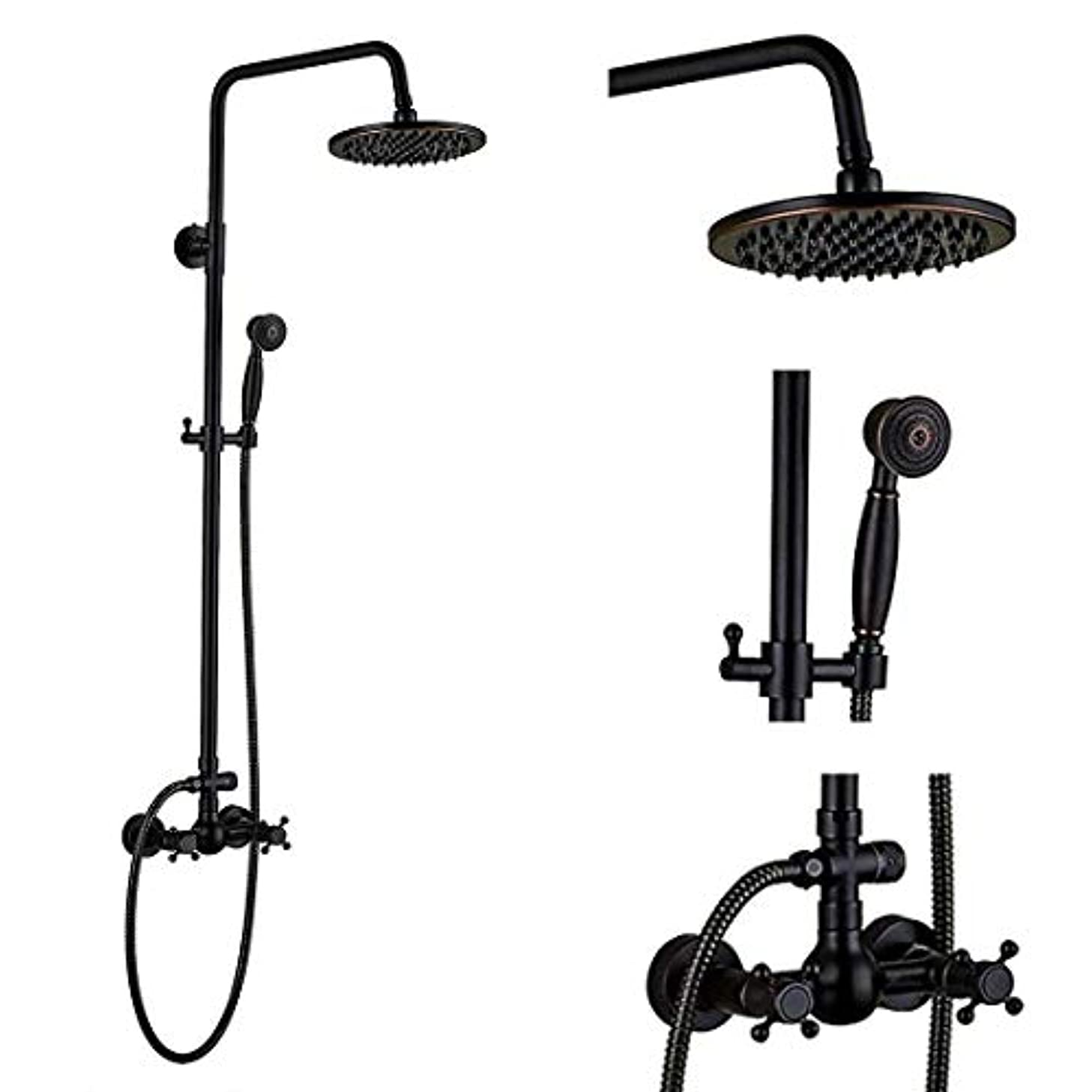 Oil Rubbed Bronze Rain Shower System set 2 Knobs Mixing 8-inch Rainfall Shower Head with Handheld Spray Bathroom Shower Faucet