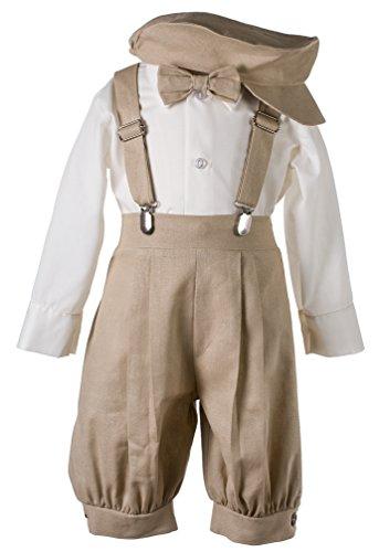 Tuxgear Boys Tan Linen Knickerbocker 5 Piece Set, Baby 18-24 Months