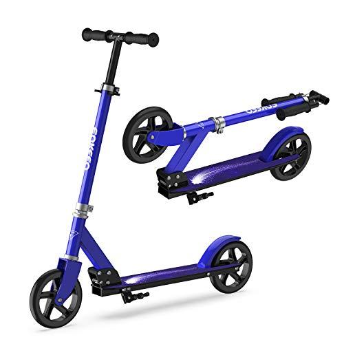 ENKEEO Patinete Plegable Scooter Kick con Manillar Ajustable, Ruedas Extra-Grande, Sistema de Frenos Inteligente y Seguro, 176 lbs/80 kg de Capacidad, Azul