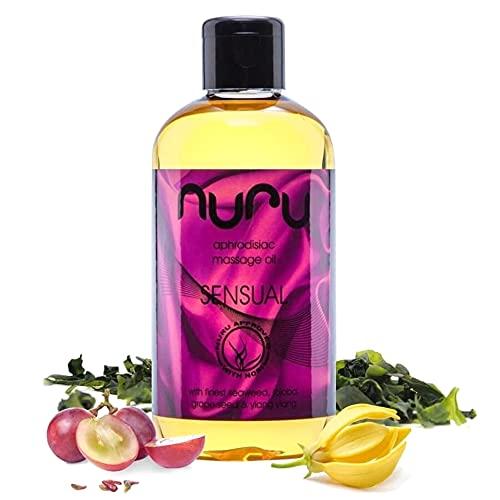 Nuru Massage Öl Sensual (250 ml) – ganzkörper Massageöl für sinnliche Massagen, handgemacht, mit Vitamin E und Nori Algen, frei von Tierversuchen