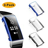 NANW Screen Protector Compatible with Fitbit Charge 4 / Charge 3, 3 Pack Soft Slim Full-Around Protective Charge 3 Case Cover Bumper for Charge 4 / Charge 3 / Charge 3 SE Smartwatch