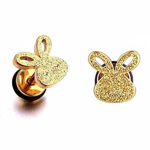 Ltong Leuke Oorbel voor kinderen Meisjes Oorknopjes Cool konijn Oor piercingsieraden voor kinderoorbellen1 paar, goud 1 paar