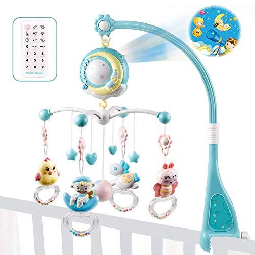 Baby Musik-Mobile mit Fernbedienung, Spieluhr mobile mit licht, Rasseln mit Sternen, Licht blinken, Musikbox für Kinder, Neugeborene und Babys