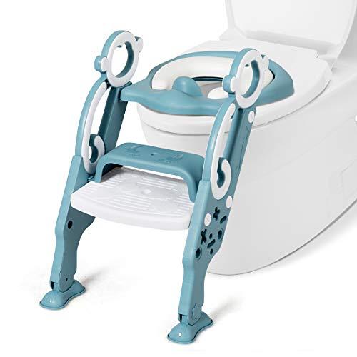 COSTWAY Kinder Toilettensitz höhenverstellbar, Toilettentrainer faltbar, Kindertoilette mit Leiter und Griffe, Töpfchentrainer zum Toilettentraining für Kleinkinder von 1 bis 8 Jahre (Grün)