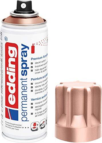 edding 5200 Permanent-Spray - rosé-gold matt - 200 ml - Acryllack zum Lackieren und Dekorieren von Glas, Metall, Holz, Keramik, lackierb. Kunststoff, Leinwand, u. v. m. - Sprühfarbe