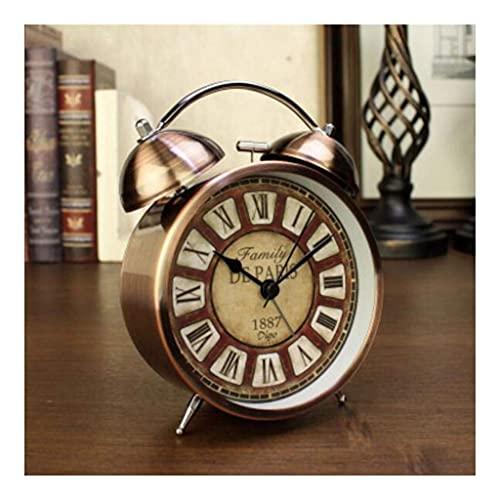 2021 NewAlarm Reloj Despertador Niños Twin Bell 4 'Clásico Retro Mesita de noche Silencioso Sin tictac con luz nocturna Relojes de cuarzo analógicos para dormitorio Sala de estar (Color: Cobre) Desper