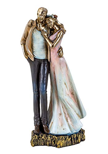 Lifestyle & More Moderne Skulptur Deko Figur Liebespaar auf Sockel Mehrfarbig Höhe 27 cm
