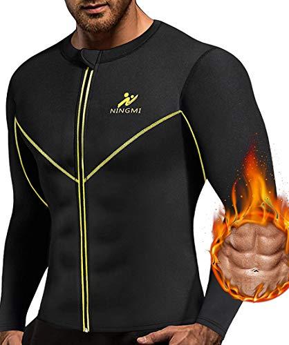 NINGMI Hombres de Manga Larga Trajes de sudoración Neopreno Perdida de Peso Entrenamiento Body Shaper Chaqueta de Fitness con Cremallera Sweat Sauna Shirt