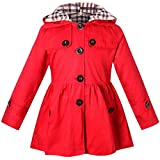 Girl's Long Sleeves Quilted Chino Hooded Hoodie Trench Coat Windbreaker, B-Red, 9-10 Years=Tag 150
