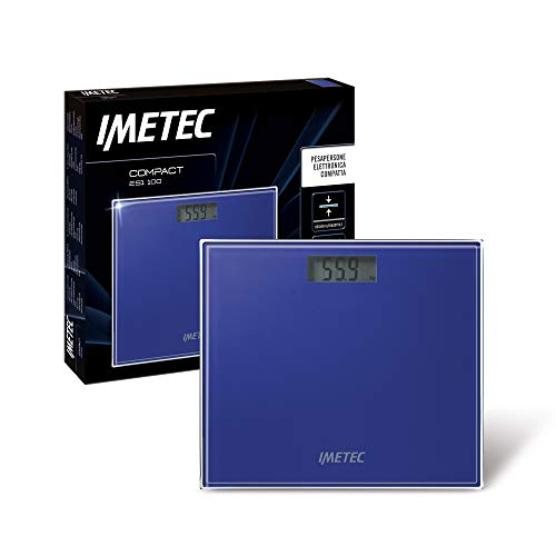 Imetec Compact ES1 100, elektronische kompakte Personenwaage, schmales Design, großes LCD-Display, maximale Tragfähigkeit 150 kg