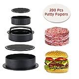 KATELUO Burger Press con 200 Fogli di Carta Antiadesiva, Stampo per Hamburger Normale,Set 3 in 1 Pressa per Hamburger per Mini/Classici/Ripieni Hamburger/Mgnon/BBQ/Cucina
