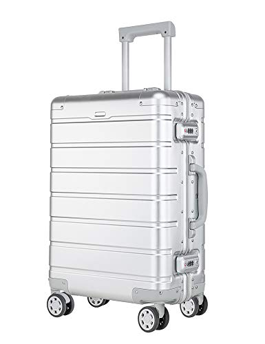 XDJ Life Aluminum Luggage with Spinner Wheels,Hardshell Suitcase for Travel with Built in TSA Lock-24in, Silver
