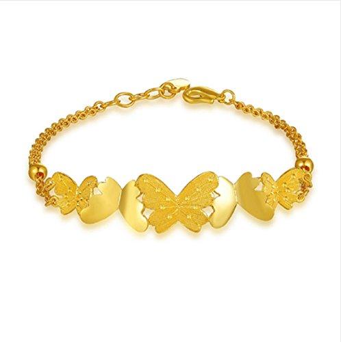GOWE Damen-Armband, 24 Karat reines Gold, Schmetterling-Design, massives 999, echter Armreif, feiner Schmuck, für Frauen, Mädchen, Geschenk, Armbänder für Partys