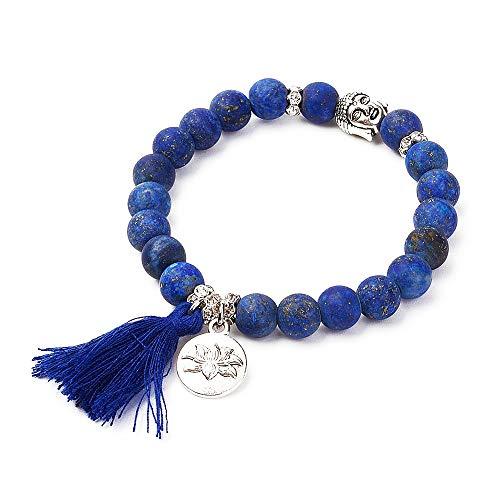 Pulsera de Perlas Naturales Budista, con Amuleto de Cabeza de Buda y A