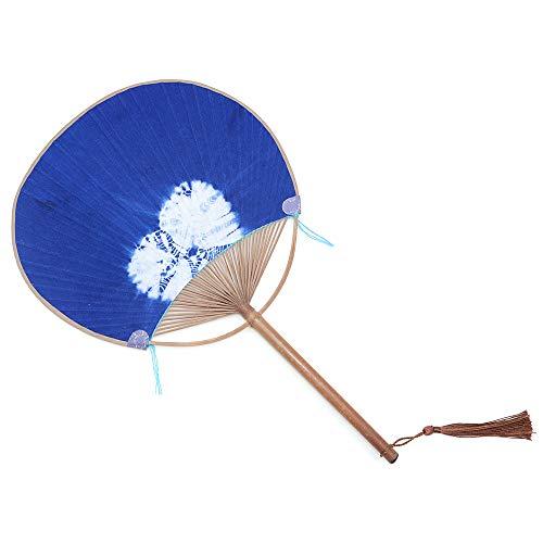 POFET Abanico redondo de bambú natural hecho a mano, color azul profundo,...