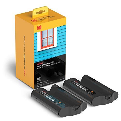 Kodak - Paquete de 80 Hojas de Impresora Fotográfica Compatible con la Base de Impresión Kodak Dock Plus y Dock - Recarga de Cartucho y Papel Fotográfico – PHC-80