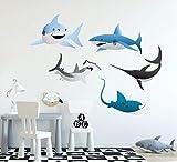 calcomanía decorativo para pared, diseño de tiburón con tiburones, animales, peces de mar para niños, decoración de habitación
