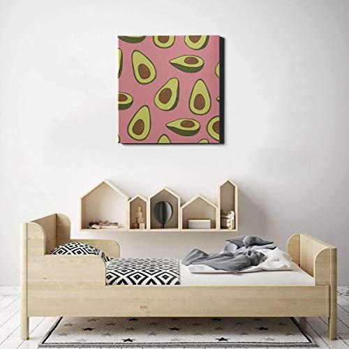 JEOLVP Kunst Wand Avocado Cartoon Obst Vintage Wandmalereien Schlafzimmer Wandfarbe 20 x 20 Zoll (50x50 cm) Wandkunstwerke Bilder für Wohnzimmer Schlafzimmer Dekoration