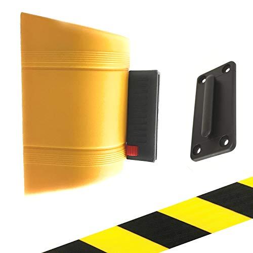 Kerafactum Personenleitsystem Zuggurt Abgrenzungsgurt Sperre Absperrgurt mit schwarzer/gelber Zugmechanik zur Wandmontage