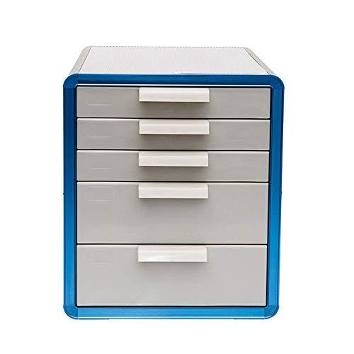 YASEking La presentación del gabinete del cajón 5 Almacenamiento de Escritorio Multidrawer Gabinete Organizador de Escritorio de papelería de Escritorio (Color: Azul, tamaño: 28.6x34.6x33.8cm)