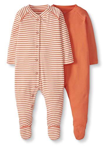 Moon and Back by Hanna Andersson Baby-Strampler mit Fuß, aus Bio-Baumwolle, zum Schlafen und Spielen, 2er-Pack, korallenrot, Preemie