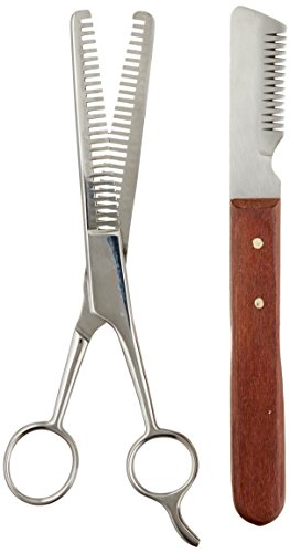 Tamsco Trimming Kit, Stripping Set of 2, Leather Case, Double Tooth Thinning Shear, Medium Stripping Knife, Great for Horses, Stainless Steel