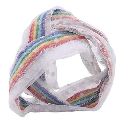 LIGHTBLUE Bandes de Cheveux de Fil Net, Bandes de Cheveux élastiques Mignonnes de Bandeau Doux Attache des Cordes,Petit Rond Blanc