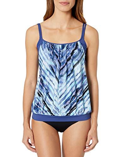 24th & Ocean Women's Double Layer Banded Bottom Tankini Swimsuit Top, Navy//Salt Water Tie Dye Stripe, M