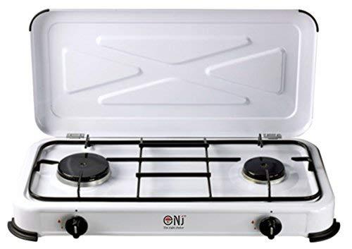 NJ -Cocina portátil de gas NJ-02 con 2 quemadores, esmaltada, con tapa, para acampada al aire libre
