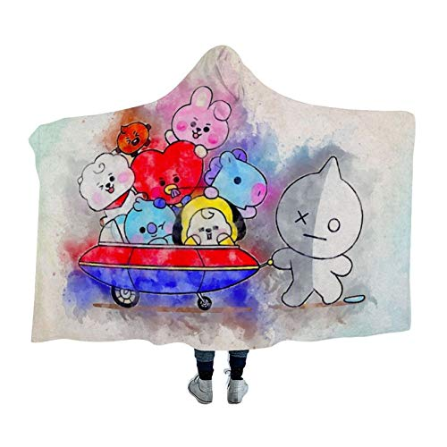 "LCGGDB 3D Print Soft Hooded Blanket Boys Girls Premium Throw Blanket, BTS Watercolor Hooded Blanket Super Soft Sherpa Fleece Throw Blanket(Kids 50""x40"")"