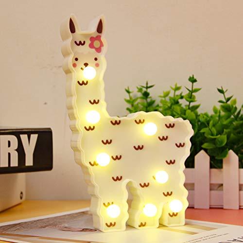 WHATOOK Llama Night Light Kids Gifts - Lámpara de noche de alpaca pintada con LED, con luz de llama, decoración de pared para habitación de niñas, mesita de noche, hogar (nube de llamas blancas)