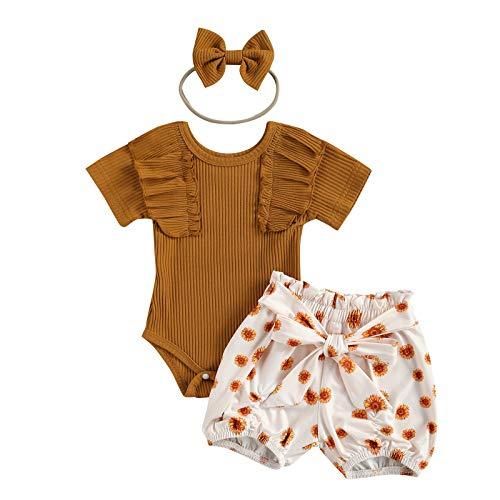 LUCSUN Trajes de verano para recién nacidos de manga corta con cuello redondo y volantes + pantalones cortos impresos con lazo + diadema
